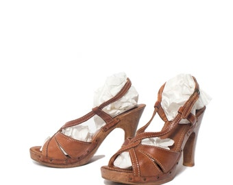 6 B | Nobil's Brown Leather High Heel Wood Sandals