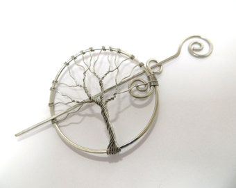 Silver Shawl Pin, Silver Tree od Life Hair Pin, Silver Tree of Life Shawl Pin, Shawl Pin, Silver Tree Hair Twist Pin