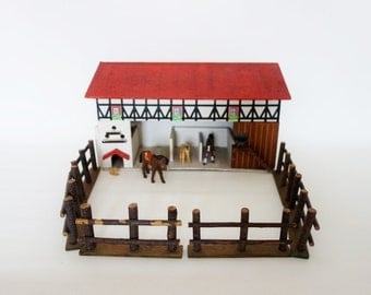 Vintage Wooden Doll Stable with Dovecote, Chicken Coop, Doghouse and Fence