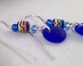 Blue Sea Glass Earrings,  Sterling Silver PEI