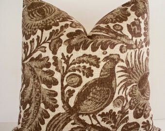 Brown French Country Pillow Waverly Tucker Resist Decorative Pillow Brown Batik Cover Brown Bird