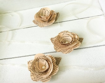Book Corsage- Wrist Corsage -Book Page Flower -Book Page Wrist Corsage-Rustic Wrist Corsage -Paper Rose -Eco Wedding (ITEM:TPG33)