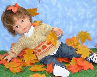 American Doll Clothes Gotz - 18 inch - Girl or Boy -  Handmade - Knit Pumpkin Fall Sweater