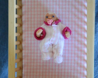 Dollhouse Baby Doll - 1/12 Scale Girl - Handmade OOAK Polymer Clay - Moveable Arms and Legs - Agnes Carol