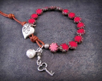 Boho knotted bracelet, leather bracelet - Rustic Red - heart, pearl charm