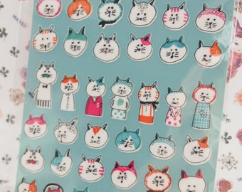 Funny Cat Deco Sticker (1 sheet)