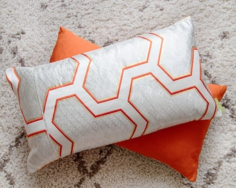 Orange/Silver Cushion, Upcycled Vintage Japanese Kimono Obi Geometric Throw Pillow, Metallic Diamond Hexagon Silk Matsu Midcentury Asian ECO