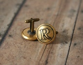 Initial Cufflinks R Initial First or Last - made with vintage buttons