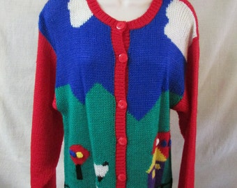 Fetagetti Sweater Hand Knit Sweater Farm Scene Red Blue Green NWT Old Stock