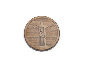 Set of 6 CHRIST THE REDEEMER charms, Laser Cut Supplies, Laser Engraved Wood, Earring Gauge Plug, Sustainable Wood Supplies, lcw0088