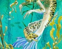 Eel Mermaid, art print, fantasy art, mermaid, deep sea, ocean, coral reef