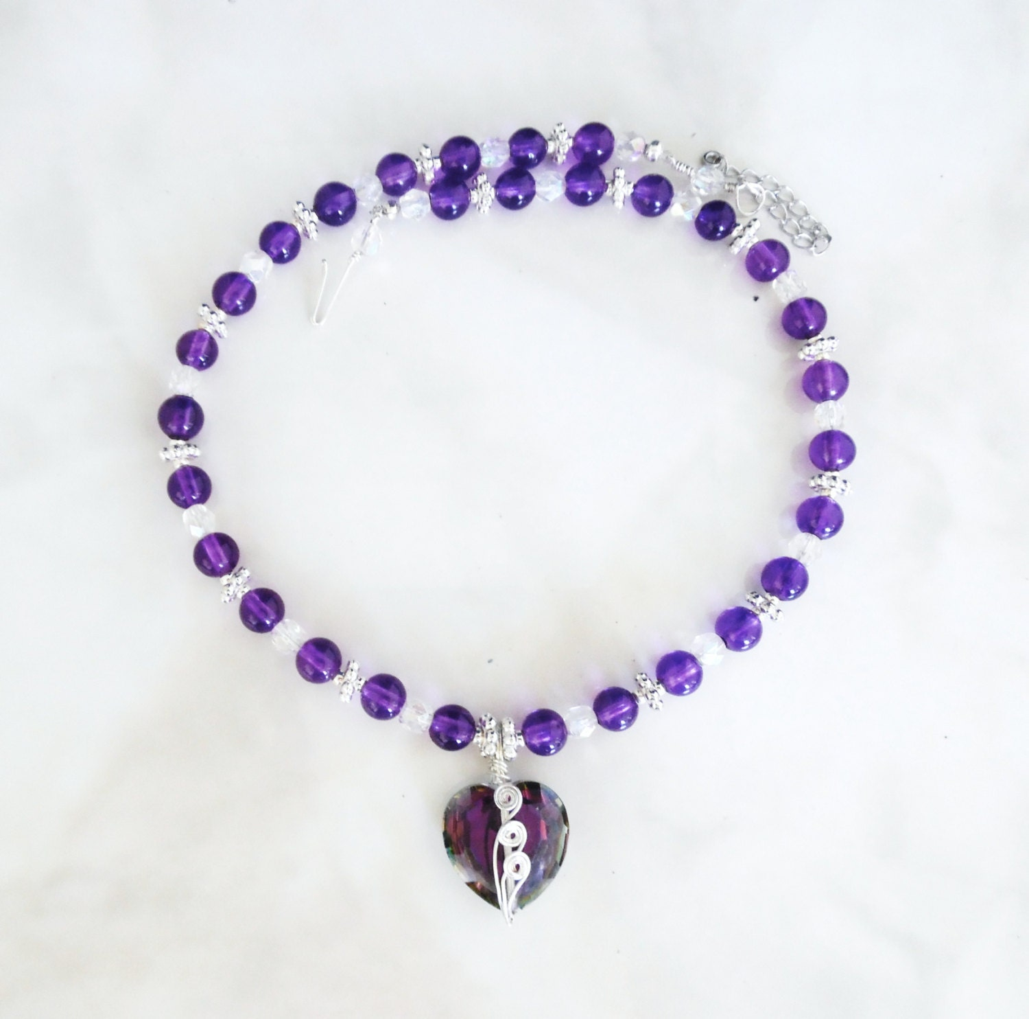 amethyst crystal necklace - photo #41