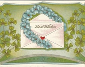 "Blue Violet Encrusted Horseshoe with Green Shamrocks will bring Good Luck & ""Best Wishes"" to the Recipient of this Vintage Postcard"