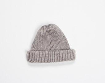 SALE -50% Grey fisherman hat - handmade knitting small beanie - rose and grey wool yarn