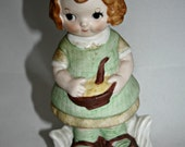 Dolly Dimple Figurine Helping Mom Ceramic Cooking Girl Retro Little Girl Dolly Dingle Style in Green Dress Girls Room Decor Kitchen Decor