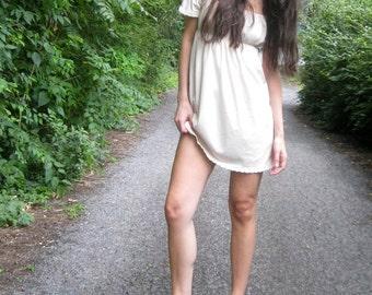 35% Off Sale! just breathe - organic cotton natural beige off shoulder bohemian boho chic hippie festival bridesmaid mini dress dress small