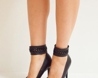Leather Ankle Cuffs (Pair), Cuff Bracelet, Stiletto Cuff, Black Bracelet, Shoe Jewelry, Leather Anklet, Chain Anklet, Black Cuff, Shoe Cuff