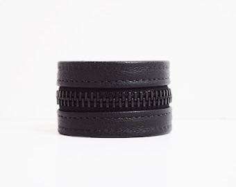 Black Zipper Bracelet (Leather with Black Zippers)
