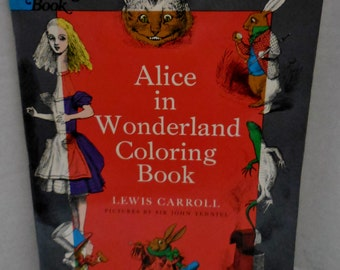 1972 - Alice in Wonderland Coloring Book - Illustrations by Sir John Tenniel - Dover Publications -Vintage Children's Story Book -Wonderful!