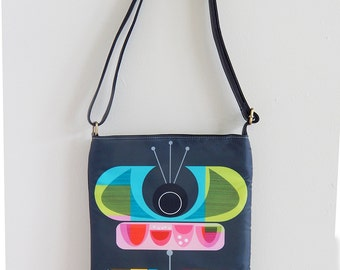 Abstract Tulip, black leather, sling bag