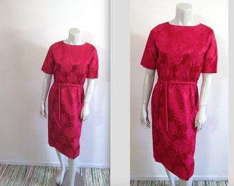 Vintage Early 60s Raspberry Brocade Mad Men Day Dress w Belt L XL