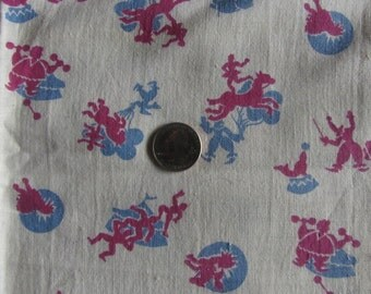 Vintage Circus Print Fabric 4 Pieces Off White Red Blue Cotton
