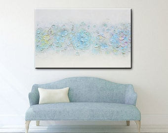 "ORIGINAL Large Art Abstract Painting White Blue Acrylic Painting Textured Flowers Wall Art Home Decor Coastal Grey Pastel 30x48""- Christine"