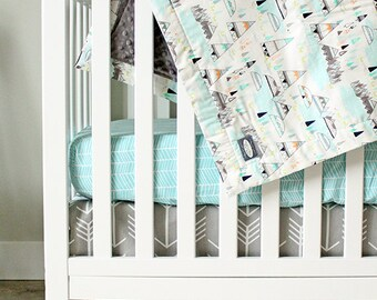 Arrow Crib bedding, Indian Summer Baby Bedding, Grey, Aqua Crib Set, Fitted Sheet, Teepee Nursery, Woodland Gender Neutral, Baby Blanket