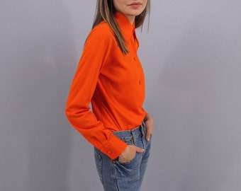Vintage 60s Mod Top, Pointy Collar Top, Jersey Fitted Blouse Δ size: xs / sm