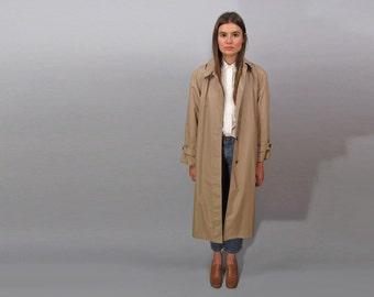 Vintage 70s Trench Coat, London Fog Trench Coat, Raincoat, Tan Coat, Minimalist Coat Δ size: sm / md