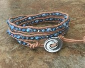 Beaded wrap bracelet, natural, beige Greek leather, sapphire blue, Chinese crystals, boho causal wrap