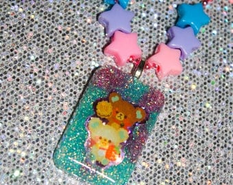 Glitter Bomb Pastel Cutie Bears Resin Necklace
