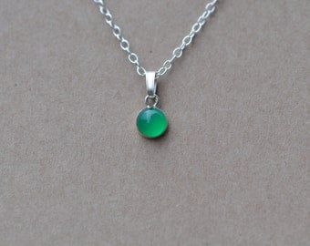Green Onyx Pendant handmade with Sterling Silver Chain, 6 mm Gemstones and fine silver necklace.