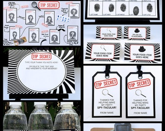 Spy Theme Party Invitations & Decorations - Secret Agent - full Printable Package - INSTANT DOWNLOAD with EDITABLE text - you personalize