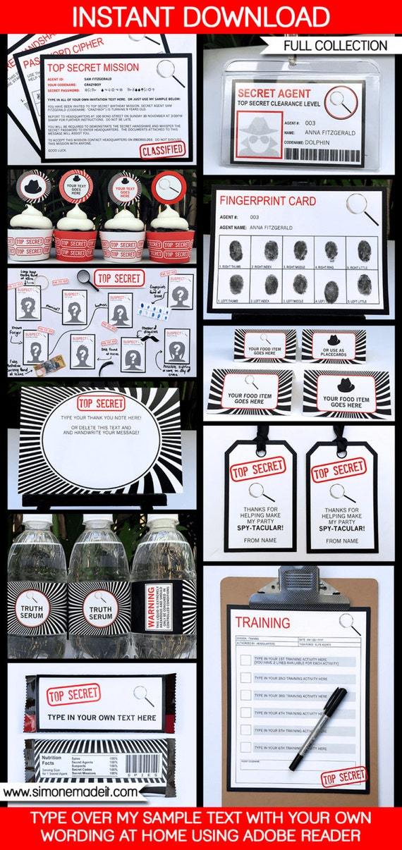 Spy Party Invitations & Decorations - Secret Agent - full Printable Package - INSTANT DOWNLOAD with EDITABLE text - you personalize at home