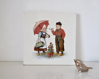 Antique German Trivet Tile Dutch Scene