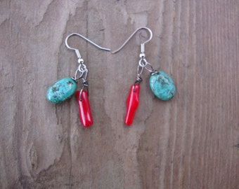 Turquoise howlite and red (glass) coral earrings