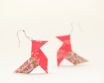 Coral Liberty origami earrings - sterling silver hooks