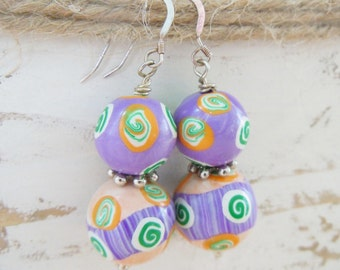 Polymer Clay Earrings Spirals Tribal Purple Green Orange