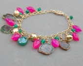 Reserved - Gold Chain Bracelet with Hot Pink Chalcedony with Green Onyx, Pyrite and Ruby in Ziosite