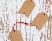 10 Etichette di carta kraft - 10 Brown Kraft Pennant Gift Tags