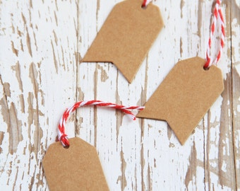 10 Etichette di carta kraft - 10 Brown Kraft Pennant Gift Tags