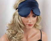 Silk Eye Mask Sleep Mask, Navy Blue Charmeuse, Fully Adjustable, Padded and Light Darkening for Sleep, For Sensitive Eyes, and Anti-Aging