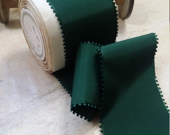 """3"""" wide Vintage French Picot Edge Rayon Taffeta in Gorgeous Forest Green sash, bow, bridal"""