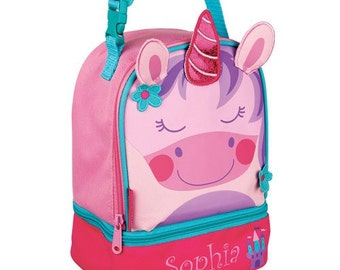 Personalized Unicorn Lunch Bag, back to school, unicorn, princess, lunch bag, lunchbox, girl, sparkles, embroidered, sparkles -gfyE000278