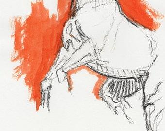 Original Sketch of a rearing up horse, Animal, Contemporary Original Study