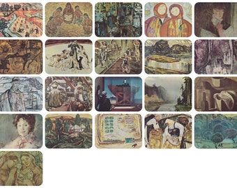 Soviet Union Exhibition of Watercolors. Set of 21 Postcards (out of 23) in original cover -- 1975