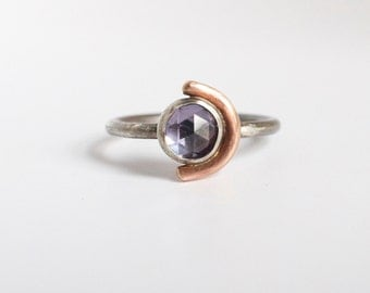 alexandrite arc ring, sterling silver rose gold stack, mood stone, purple teal blue, rose cut, alternative engagement wedding ring