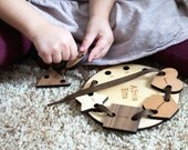 wooden LACING and TRACING toy set - personalized, educational, all natural, montessori learning for toddler and preschooler