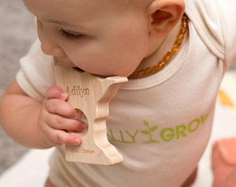 onesie + any state teether - Locally Grown gift set - any US state wood teether toy + matching organic cotton onesie - personalized gift